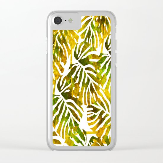 Sunset Tropical Leaves Abstract Clear iPhone Case