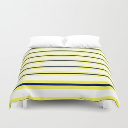 Nautical Yellow, White and Navy, Crisp and Clean Lines Duvet Cover
