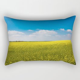 Drifting Days - Blissful Spring Day of Blue Skies and Yellow Canola Fields Rectangular Pillow