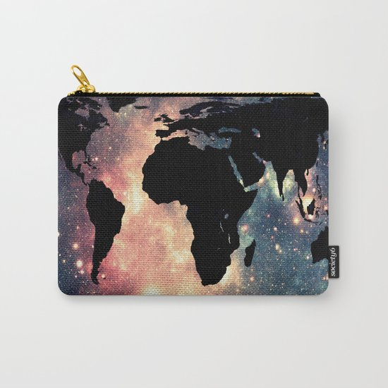 World Map Mauve & Teal Space Carry-All Pouch