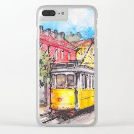 Yellow tram in Lisbon ink & watercolor illustration Clear iPhone Case