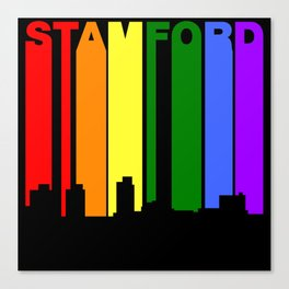 Stamford Connecticut Gay Pride Rainbow Skyline Canvas Print