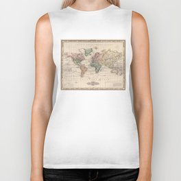 Vintage Map of The World (1833) Biker Tank