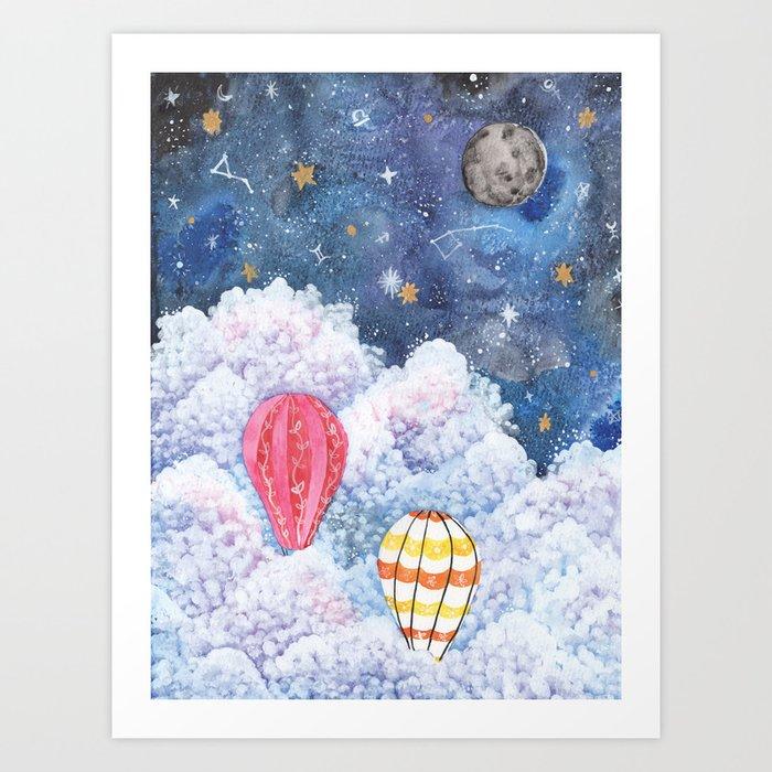 Rise Above Night Sky Hot Air Balloon Illustration Watercolor Galaxy Art Print By Emilybilbieart