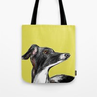 greyhound Tote Bags featuring Greyhound by James Peart