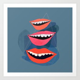 Lips (Blue) Art Print