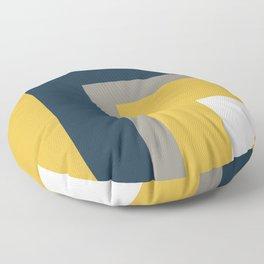 Half Frame Minimalist Pattern in Deep Mustard Yellow, Navy Blue, Gray, and White Floor Pillow
