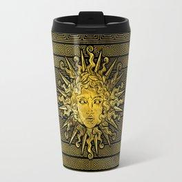 Apollo Sun Symbol on Greek Key Pattern Travel Mug