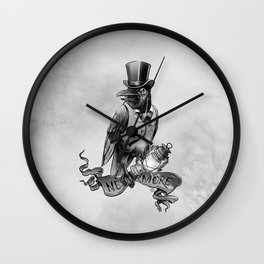 Nevermore. The Crow by E. A. Poe Wall Clock