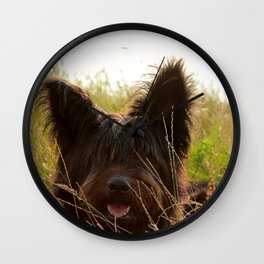 Dog in nature Wall Clock