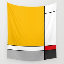 Mid century Modern yellow gray black red Wall Tapestry