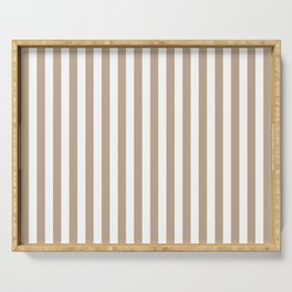 Pantone Hazelnut and White Stripes, Wide Vertical Line Pattern Serving Tray