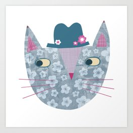 Flowery Cat in a Flowery Hat Art Print