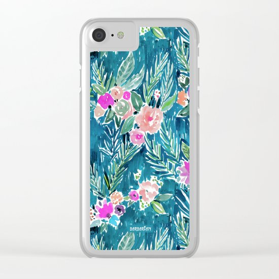 PARADISE FLORAL - NAVY Clear iPhone Case