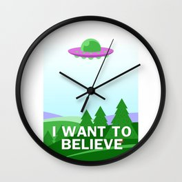 """I want to believe"" cartoon style Wall Clock"