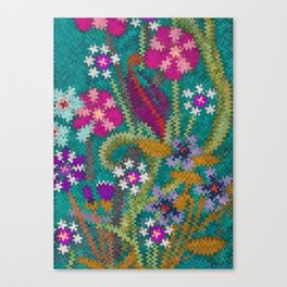 Starry Floral Felted Wool, Turquoise and Pink Canvas Print