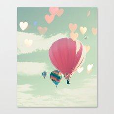 Hot air balloon nursery and heart bokeh on pale blue Canvas Print