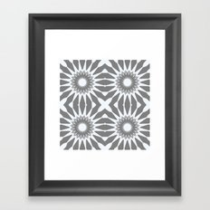 Flannel Gray & White Pinwheel Flower Framed Art Print