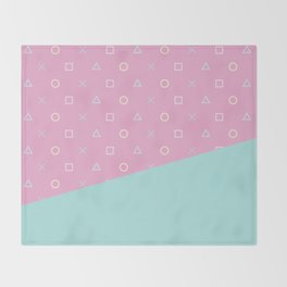 Gamer Girl - Pastel Playstation Controller Buttons Throw Blanket