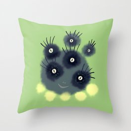 Creepy Cute Spider Face Monster Throw Pillow