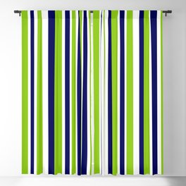 Lime Green Bright Navy Blue and White Vertical Stripes Pattern Blackout Curtain