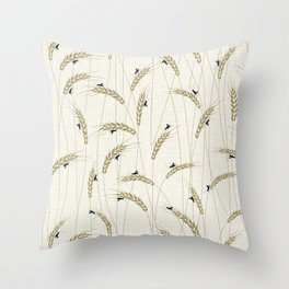 Crickets in a field Throw Pillow