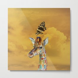 Giraffe and Butterfly Metal Print
