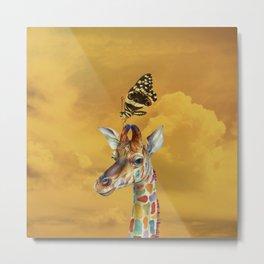 Giraffe and Butterfly Metal Print