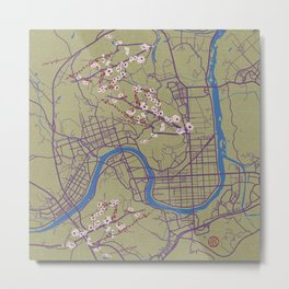 Jinju Map with Cherry Blossoms Metal Print