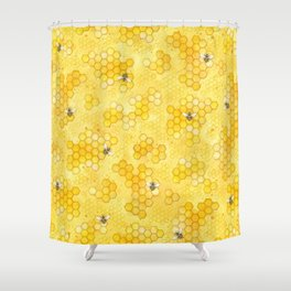 Meant to Bee - Honey Bees Pattern Shower Curtain