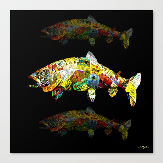 FATHER  LIKES FISH AND BOURBON POP ART Canvas Print
