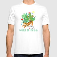 Wild and Free MEDIUM White Mens Fitted Tee