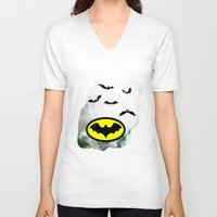 bat man V-neck T-shirts featuring Bat man  by haroulita