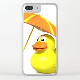 Rubber duck at the beach Clear iPhone Case