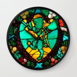 Stained glass with lion and angels Wall Clock