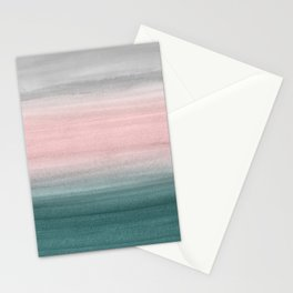 Touching Teal Blush Gray Watercolor Abstract #1 #painting #decor #art #society6 Stationery Cards