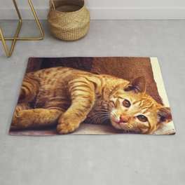 Relaxing Orange Tabby Cat Rug