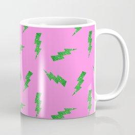 Green Glitter Lightning Bolts in Pink Coffee Mug
