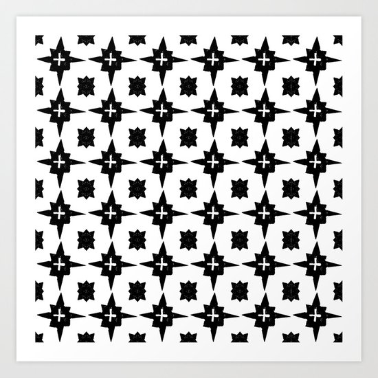 Linocut scandinavian minimal printmaking pattern blockprint black and white Art Print