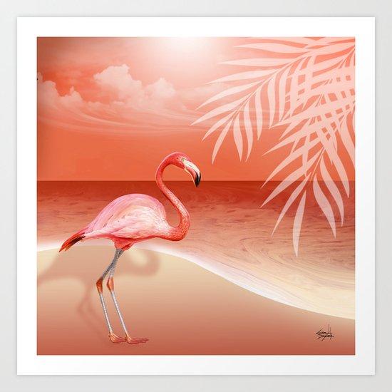 FLAMINGO BEACH | coral Art Print