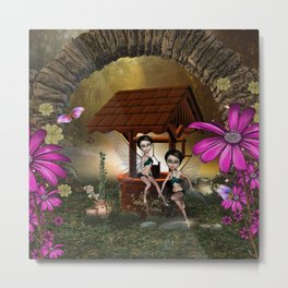 Cute playing fairy Metal Print