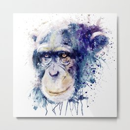 Watercolor Chimpanzee Metal Print
