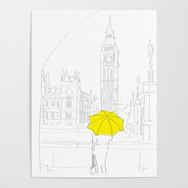 Yellow Umbrella Travel Girl in London Poster