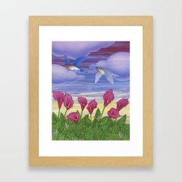 eastern bluebirds, purple calla lilies, and snails Framed Art Print
