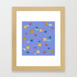 seashells and starfishes - violet Framed Art Print