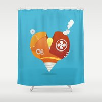 metal gear Shower Curtains featuring Metal Heart by Pedro Vilas Boas