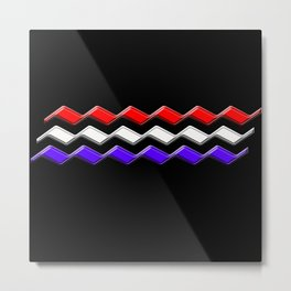Rectilinear wave ....red,white,blue Metal Print