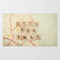 run Area & Throw Rugs featuring let's run away by shannonblue