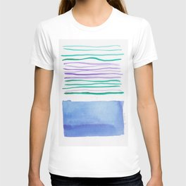 21   |181026 Lines & Color Block | Watercolor Abstract | Modern Watercolor Art T-shirt