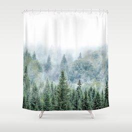 Forest Print, Woodland Print, Modern Landscape Decor Shower Curtain